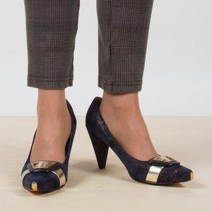 Vintage Metallic Velvet Heels